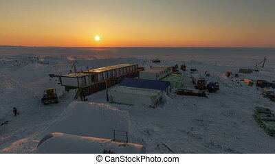 town of builders in the Arctic. - Camp of workers in the...