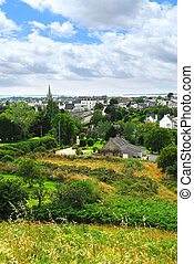 Town of Carnac in Brittany - Scenic view from a hilltop on ...