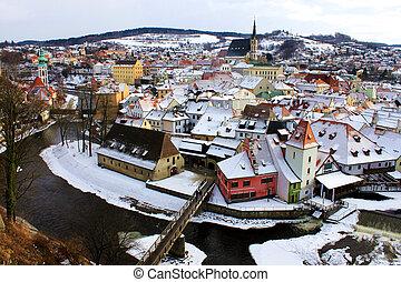 town of Cesky Krumlov in winter time