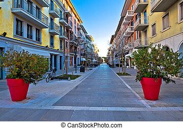 Town of grado tourist promenade street view, Friuli Venezia...