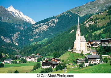 Town of Heiligenblut and Grossglockner in Austria -...
