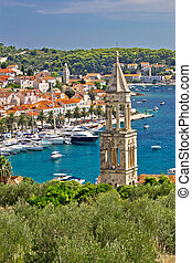 Town of Hvar yacht harbor, Dalmatia, Croatia