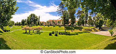 Town of Karlovac park panoramic view