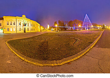 Town of Koprivnica advent time evening view