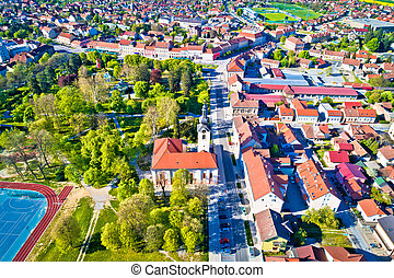 Town of Koprivnica aerial view, Podravina region of Croatia