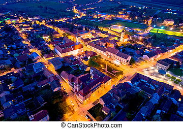 Town of Krizevci aerial panoramic night view, Prigorje...
