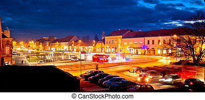 Town of Krizevci evening advent view, Prigorje region of...