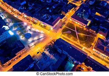 Town of Krizevci main square aerial night view, Prigorje...