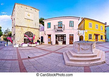 Town of Krk historic main square panoramic view