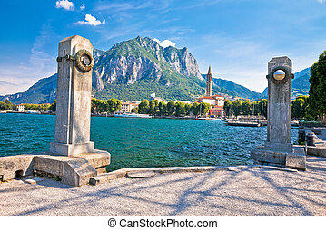 Town of Lecco on Como Lake waterfront view, Lombardy region of Italy