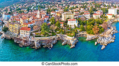 Town of Lovran and Lungomare sea walkway aerial panoramic ...