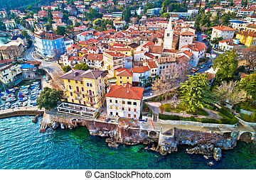 Town of Lovran and Lungomare sea walkway aerial view, ...