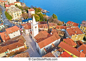 Town of Lovran historic center archutecture aerial view, ...