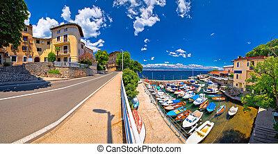 Town of Lovran waterfront panoramic view, Opatija riviera of...