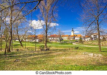 Town of Lubreg park view, Prigorje region of Croatia