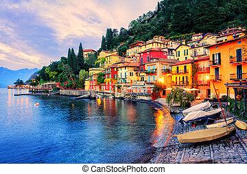 Town of Menaggio on sunset, Lake Como, Milan, Italy -...