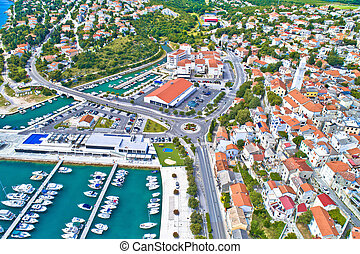 Town of Novi Vinodolski aerial panoramic view, Adriatic sea...