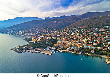 Town of Opatija and Lungomare sea walkway aerial panoramic ...