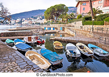 Town of Opatija small harbor on Lungomare walkway view,