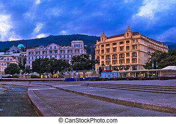 Town of Opatija waterfront sunset panorama, Kvarner bay of ...