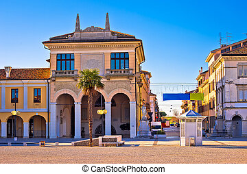 Town of Palmanova colorful street view, Friuli Venezia...
