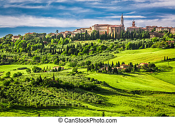 Town of Pienza at sunset, Italy