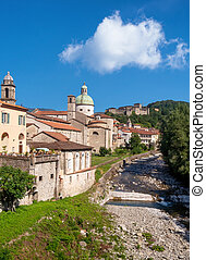 Town of Pontremoli, Lunigiana, north Tuscany, Italy, in vertical composition. Summer.
