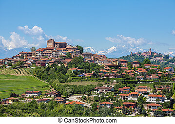 Town of Roddi on the hills in Italy.
