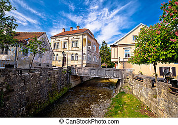 Town of Samobor creek and old architecture, northern Croatia