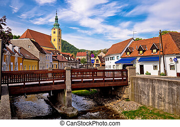 Town of Samobor river and architecture, northern Croatia
