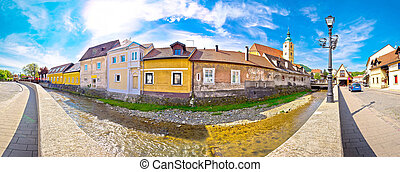 Town of Samobor riverfront panoramic view