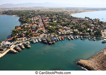 Town of Side, Turkey. Aerial photography. Photo from the ...
