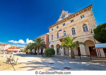 Town of Stari Grad waterfront architecture, island of Hvar,...