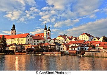 Town of Telc at sunset, Czech Republic, UNESCO