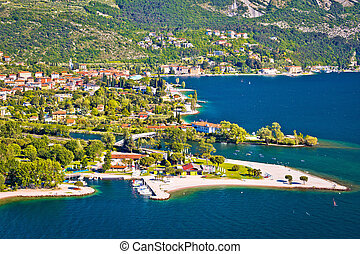 Town of Torbole on Garda lake aerial view