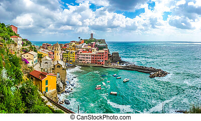 Town of Vernazza, Cinque Terre, Italy - Beautiful view of...