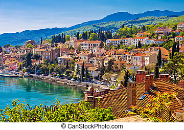 Town of Volosko seafront view, Opatija riviera of Croatia