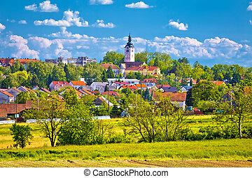 Town of Vrbovec landscape and architecture, Prigorje region...