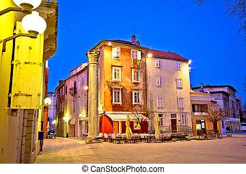 Town of Zadar square evening view, Dalmatia, Croatia