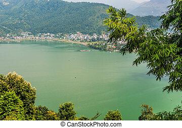 Town on green lake.