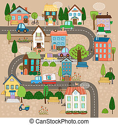 town on road - Vector Cityscape Illustration. City or town...