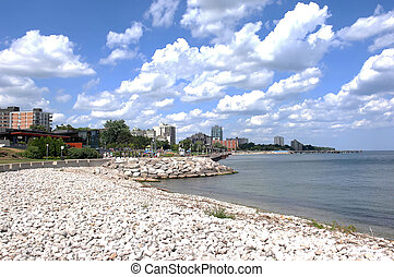 Town on shore of lake Ontario. - Promenade on the shore of ...