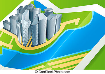 Town on the map, vector