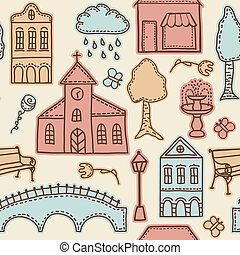 Town or city design elements on seamless pattern