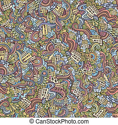 town., padrão, seamless, mão, desenhado, doodles
