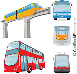 Town passenger transport. Set. Vector illustration