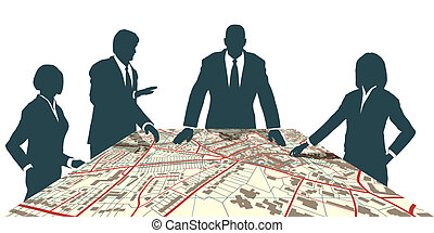 Editable vector map of people meeting around a generic city map