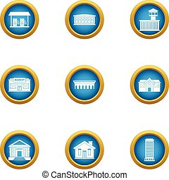 Town planning icons set, flat style - Town planning icons...