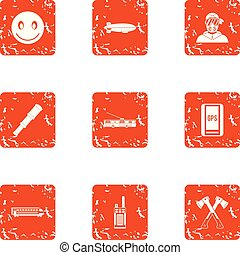 Town planning icons set, grunge style - Town planning icons...