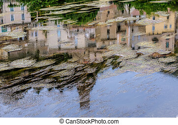 town reflection in water
